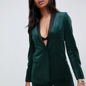 new asos velvet tuxedo dress blazer green us 4